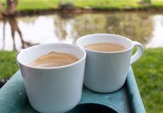 站立在塑料持有人的两个咖啡杯在池塘附近 库存照片