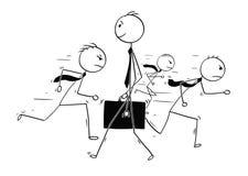 站立在外面的商人个性概念性动画片 库存例证