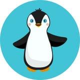 站立在天蓝色背景的小企鹅 逗人喜爱的企鹅动画片平的设计传染媒介例证 免版税库存图片
