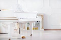 站立在宫殿大厅典雅的内部的白色大平台钢琴  免版税库存图片