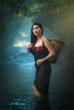 站立在小河的性感的亚裔妇女 库存照片