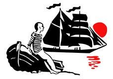 站立在小船附近和看在船的一个距离的水手 免版税库存图片