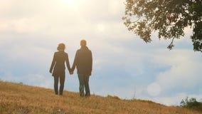 站立在山小山,握手和看天空的爱恋的夫妇,约会 影视素材