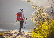 站立在峭壁的年轻女性远足者 免版税图库摄影