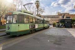 站立在广场Risorgimento的电车在罗马 免版税库存图片