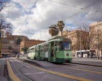 站立在广场Risorgimento的电车在罗马 库存图片