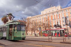 站立在广场Risorgimento的电车在罗马 库存照片