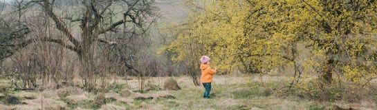 站立在开花的树附近的Babygirl 图库摄影