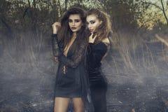 站立在有掠食性面孔表示的被烧的草甸中间的黑褂子的两个年轻美丽的性感的巫婆 图库摄影