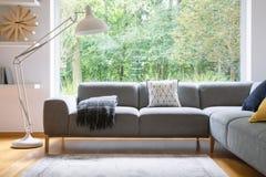 站立在有毯子的灰色壁角在真正的照片明亮的客厅内部wi的休息室和坐垫旁边的大白合金灯 库存照片