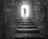 站立在有门户开放主义的台阶顶部的商人 图库摄影
