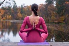 站立在木桥的瑜伽姿势的少妇在秋天 库存照片
