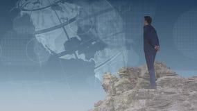 站立在架置的董事看地球 向量例证