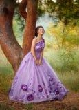 站立在树下的一件华美的紫色礼服的美丽的女孩 免版税库存图片