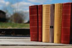 站立在桌上的书 免版税库存图片