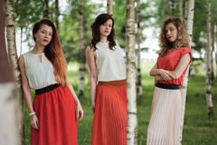 站立在桦树之间的三名确信的偶然妇女 库存照片
