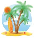 站立在棕榈树传染媒介例证下的冲浪板 库存照片
