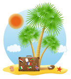 站立在棕榈树传染媒介例证下的手提箱 免版税图库摄影