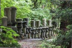 站立在森林里的日本石灯笼行。 免版税图库摄影