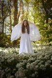 站立在森林里的长的白色礼服的美丽的妇女 免版税库存照片