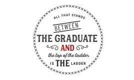 站立在毕业生和梯子的上面之间的所有是梯子 皇族释放例证