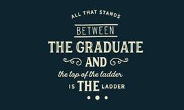站立在毕业生和梯子的上面之间的所有是梯子 库存例证