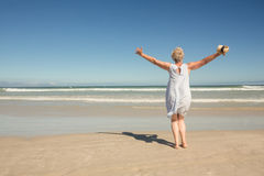 站立在沙子的妇女背面图反对清楚的天空 免版税库存照片
