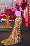 站立在沿佩带五颜六色的布料妇女豹子的街市的长行的时装模特色和桃红色 库存图片
