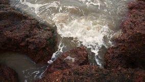 站立在海和等待附近的雨披的年轻沮丧的妇女 影视素材