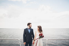 站立在海的一个码头的结婚的婚姻的夫妇 免版税库存照片