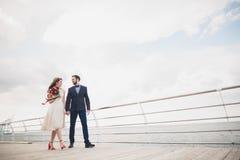 站立在海的一个码头的结婚的婚姻的夫妇 库存照片