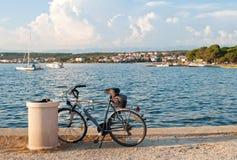 站立在海附近的自行车 免版税库存照片