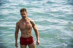 站立在海洋水中的肌肉人,赤裸上身 免版税库存照片