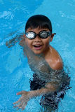 站立在游泳池-愉快面孔微笑的亚洲孩子 免版税库存图片