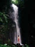 站立在瀑布下 库存照片