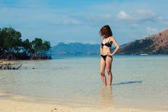 站立在热带海滩的亭亭玉立的少妇 免版税库存照片