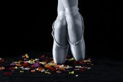 站立在玫瑰花瓣的脚趾的跳芭蕾舞者有黑backg的 库存照片