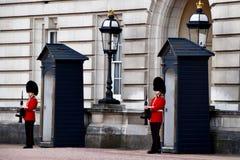 站立在白金汉宫的卫兵 库存照片