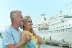 站立在码头的资深夫妇 免版税库存照片