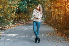 站立在秋天公园的套头衫的俏丽的女孩 库存照片