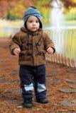 站立在秋天公园的小男孩 库存图片
