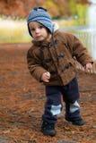 站立在秋天公园的小男孩 免版税库存图片