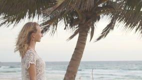 站立在空的海滩在日落,观看的风雨如磐的海浪的孤独的妇女 慢的行动 影视素材