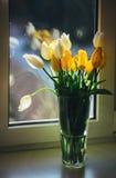 站立在窗口的郁金香花束在一个晴天 库存图片