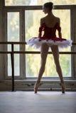 站立在舞蹈的一个大窗口附近的典雅的年轻芭蕾舞女演员 免版税库存图片