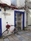 站立在街道上的一辆桃红色自行车在博德鲁姆 免版税库存照片