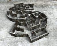 站立在金钱形状迷宫的人 免版税库存图片