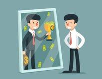 站立在镜子前面的商人和看见自己是成功的 8企业概念eps向量 免版税库存照片