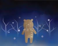 站立在雪的玩具熊 库存图片