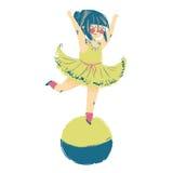 站立在顶面平衡的球的马戏团演员的例证 免版税库存照片
